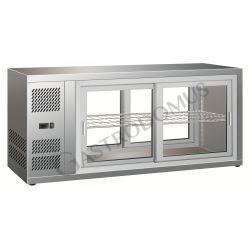Tischkühlvitrine – Umluftkühlung – Edelstahl – Schiebetüren – Kapazität 150 L – Temperaturbereich +2°C/+8°C