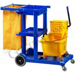 Hausmeisterwagen – Kunststoff – Rollen – Mopp-Presse – Trennwand –– Sackhalter – Werkzeugbehälter