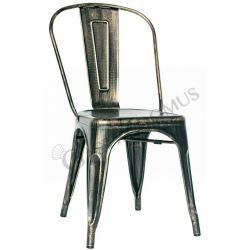 Retrò Stuhl – Struktur – Sitzfläche & Rückenlehne – Metall – lackiert – Antik Effekt
