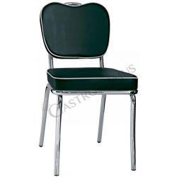 Regina Stuhl – Stahlstruktur – verchromt – Sitzfläche & Rückenlehne – Kunstleder
