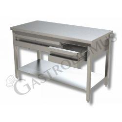 Arbeitstisch aus Edelstahl – 2 Schubladen – Grundboden – B 1000 mm x T 600 mm x H 850 mm