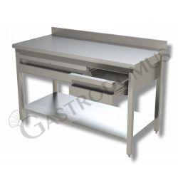 Arbeitstisch aus Edelstahl – 3 Schubladen – Aufkantung – B 1600 mm x T 600 mm x H 950 mm