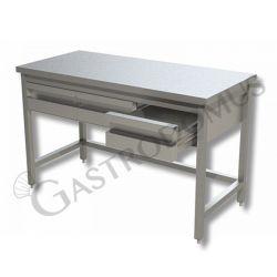Arbeitstisch aus Edelstahl – 2 Schubladen – B 1200 mm x T 700 mm x H 850 mm