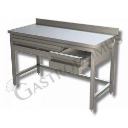 Arbeitstisch aus Edelstahl – 3 Schubladen – Aufkantung – B 1400 mm x T 700 mm x H 950 mm