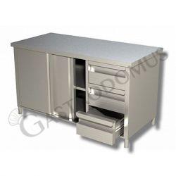 Schranktisch Edelstahl – 2 Schiebetüren – 3 Schubladen – rechts – B 2100 mm x T 600 mm x H 850 mm