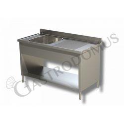 Edelstahl Spültisch – Verblendung – Ablage rechts– Aufkantung – 1 Becken – B 1500 mm x T 600 mm x H 950 mm