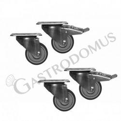 Räder-Set für Ausstellungsvitrinen mit einer Länge von 1370 mm