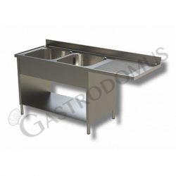 Edelstahl Spülmaschinentisch – Verblendung – 2 Becken – Ablage rechts – B 1800 mm x T 700 mm x H 950 mm