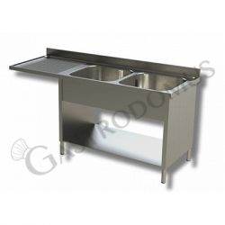 Edelstahl Spülmaschinentisch – Verblendung – 2 Becken – Ablage links – B 1600 mm x T 600 mm x H 950 mm