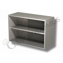 Edelstahl – Wandhängeschrank – offen – 1 Zwischenboden – B 600 mm x T 400 mm x H 650 mm