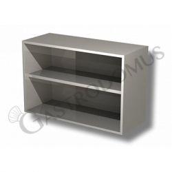 Edelstahl – Wandhängeschrank – offen – 1 Zwischenboden – B 1200 mm x T 400 mm x H 650 mm