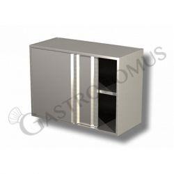 Edelstahl – Wandhängeschrank – Schiebetüren – 1 Regal – B 1000 mm x T 400 mm x H 650 mm