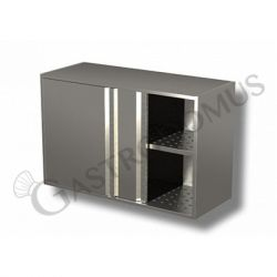 Edelstahl – Wandhängeschränke – 1 Abtropffläche – Schiebetüren – B 1300 mm x T 400 mm x H 800 mm