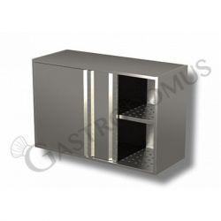 Edelstahl – Wandhängeschränke – 1 Abtropffläche – Schiebetüren – B 1600 mm x T 400 mm x H 800 mm