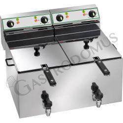 Tischfritteuse – elektrisch – 2 Becken – Kapazität 8 L + 8 L – 3000 W + 3000 W – 2 Ablassventile