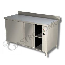 Edelstahl – Wärmeschrank – Schiebetüren – Aufkantung – B 1100 mm x T 700 mm x H 950 mm