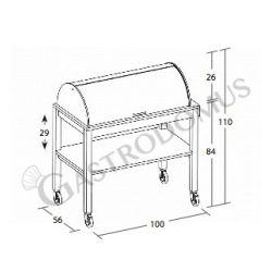 Servicewagen – Holz – lackiert – 2 Ablagen – Kuppel – halbzylindrisch