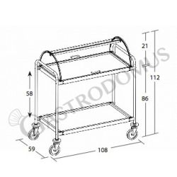 Servicewagen – Holzoptik – 2 Ablagen – Kuppel