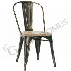 Rose Stuhl – Struktur – Rückenlehne – Metall – lackiert – Antik Effekt – Sitzfläche – Holz
