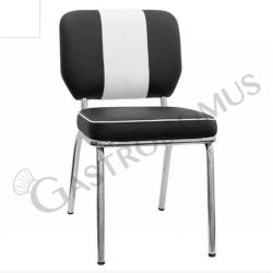 Happidays Stuhl – Struktur – Metall – verchromt – Sitzfläche & Rückenlehne – Kunstleder