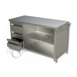 Arbeitstisch aus Edelstahl – 3 Schubladen – links – B 2200 mm x T 700 mm x H 850 mm