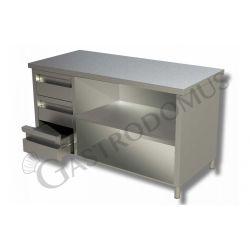 Arbeitstisch aus Edelstahl – 3 Schubladen – links – B 2400 mm x T 700 mm x H 850 mm