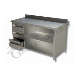 Arbeitstisch Edelstahl – 3 Schubladen – links – Aufkantung – B 1400 mm x T 600 mm x H 950 mm