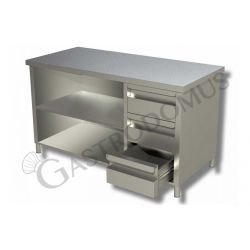 Arbeitstisch Edelstahl – 3 Schubladen – rechts – B 2200 mm x T 700 mm x H 850 mm