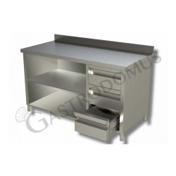 Arbeitstisch Edelstahl – 3 Schubladen – rechts – Aufkantung – B 1200 mm x T 600 mm x H 950 mm