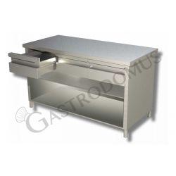 Arbeitstisch aus Edelstahl – offen – 2 Schubladen – B 1200 mm x T 600 mm x H 850 mm