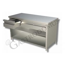 Arbeitstisch aus Edelstahl – offen –3 Schubladen – B 1600 mm x T 700 mm x H 850 mm