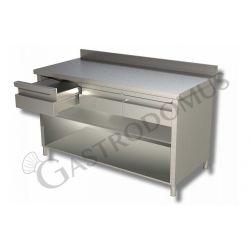 Arbeitstisch Edelstahl – offen – 3 Schubladen – Aufkantung – B 1400 mm x T 600 mm x H 950 mm