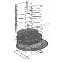 Pizzablechhalter – Edelstahl – vertikal – 18 Fächer – H 70 cm