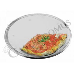 Serviertablett für Pizza – Edelstahl – 4 Füße – rund – Durchmesser 33 cm