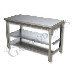 Arbeitstisch aus Edelstahl – 2 Regalböden – B 1300 mm x T 800 mm x H 850 mm