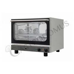 Bäckerei Heißluftofen – Kipptür – Beschwadungs-Taste – einphasig – mechanische Steuerung – 4 Tragroste 600x400 mm
