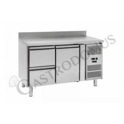 Kühltisch –  1 Tür und 2 Schubladen links – Aufkantung – Tiefe 700 – Temperaturbereich - 2 ° C / + 8 ° C