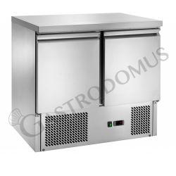 Saladette mit statischer Kühlung – 2 Türen – Arbeitsplatte aus Edelstahl – Temperaturbereich + 2 °C / + 8 °C