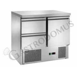 Saladette – 2 Schubladen – 1 Tür – Arbeitsplatte aus Edelstahl – Temperaturbereich + 2 °C / + 8 °C