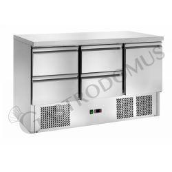 Saladette – 4 Schubladen – 1 Tür – Nutzvolumen 368 L – Temperaturbereich + 2 °C / + 8 °C