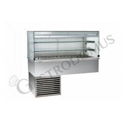 Kühlvitrine – Umluftkühlung – kubisch – 2 Ablagen – Kundenseitevorhang – B 1460 mm
