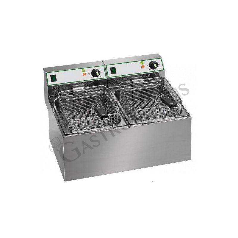 Tischfritteuse – elektrisch – 2 Becken – Kapazität 4 L + 4 L – 2500 W + 2500 W