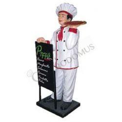 Dekofigur – Pizzabäcker mit Menütafel – Höhe 140 cm