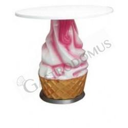 Tisch in Softeis-Form – rosa-weiß – Höhe 72 cm