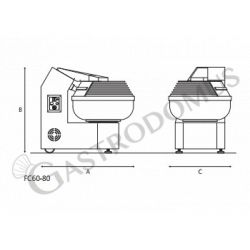 Gabel-Teigknetmaschine – 80 kg – dreiphasig 400 V