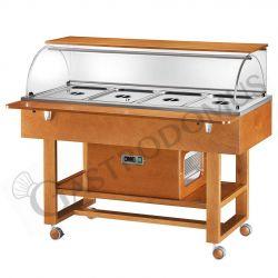 Kaltbuffet – Holz – Plexiglaskuppel – +2°/+10°C – B 1480 mm x T 900 mm x H 1260 mm