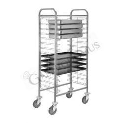 Tablettwagen – Edelstahl – Behälter – GN 1/1 – oder Auflaufform 60 x 40 – B 770 mm x T 460 mm x H 1180 mm
