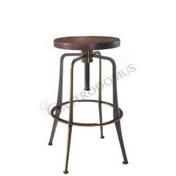 Regulierbarer Barhocker Dust – Metall – Antik-Effekt – Holzsitzfläche