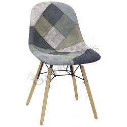 Stuhl Doha – Metall- und Holzgestell – Patchwork Stoffbezug