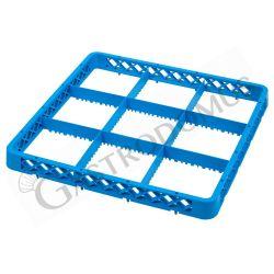 Aufsatzrand für Gläserkorb – blau – 9 Fächer – H 45 mm